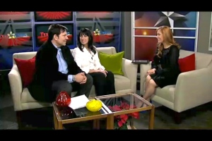 "Gene & Julie Gates on the set of KTXD's ""Texas Living"" with Hilary Kennedy."